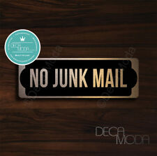 No Junk Mail Sign, Brushed Copper Finish No Junk Mail Door Sign, 9 x 3 inches