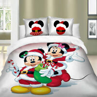 Santa Mickey White Quilt Cover Duvet Cover Set Twin Queen King Size Bedding Set