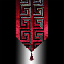 SHINY BLACK FLOCK BURGUNDY VELVET DECORATIVE TASSEL WEDDING TABLE RUNNER CLOTH