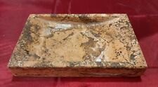 Frenchtex Natural Marble Solid Stone Dark Travertine Slab Soap Dish Nice Size!