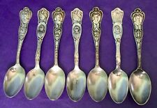 Birks & Rogers RARE Famous People Antique Lot of Seven SP Spoons