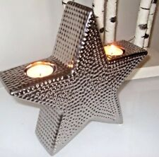 SILVER HAMMERED CONTEMPORARY ⭐️ STAR CANDLE TEA LIGHT HOLDER DECORATIVE ORNAMENT