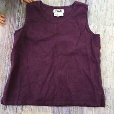 Flax Blouse Womens Small 100% Linen Lagenlook Oversized Sleeveless Shell Purple