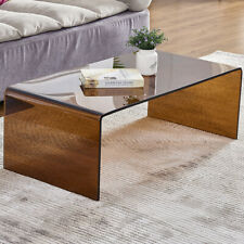 Premium Tempered Glass Coffee Tables for Living Room Modern End Table,Brown