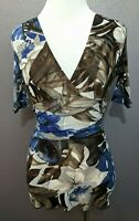 Karen Kane Women's Size XS Blue Brown Floral Ruched Short Sleeve Mesh Top Blouse