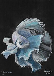 original painting A4 157PK art samovar acrylic Modern animal fish Signed 2021