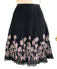 ALANNAH HILL Pleated Silk & Embossed Velvet Ruffle Hem Black & Tan Skirt sz 10