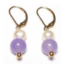 Genuine White Pearl & Lavender Jade  Lever Back Earrings 14K Gold Filled