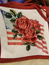 "Cross Stitch ""American Beauty Rose"" pattern ~ flag, patriotic"