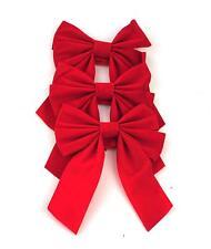3x Albero di Natale Fiocco Decorazione Bagattelle Festa Giardino Ornamento Rosso