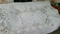 "Vintage white cotton tablecloth with embroidery cross stitch  62"" x 96"""
