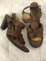BORN CROWN Womens Sandals Heels Strappy Brown Leather Slingback Size 9/ 40.5