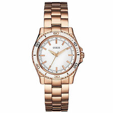 Guess U0557L2 BRAND NEW Womens White Rose Gold S.Steel Analog Dial Dress Watch