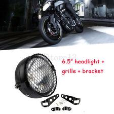 Universel Moto avant rétro avant métal noir phare + Grille + 1 paire Supports