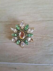 Brooch Green Stones Brass