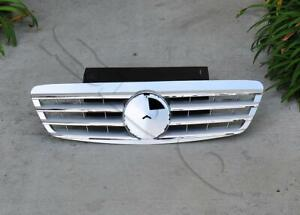 Silver ABS 4 Fins Front Grille Grill Fits 99-02 Mercedes W220 S430 S500 S55 4DR