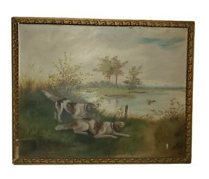 Antique Nice Hunting Dogs Oil On board Framed Painting  Signed , 1903