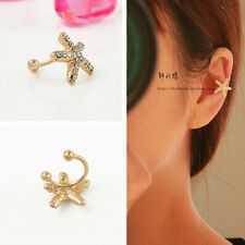 ELEGANT Starfish Gold Tone Full Rhinestone CRYSTAL Earring Ear Clip Cuff Wrap HS