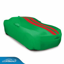 COVERKING Satin Stretch™ car cover, Synergy Green, red stripes 2010-2015 Camaro