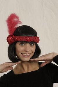 Bandeau Charleston plumes rouges 1920 années folles deguisement carnaval show