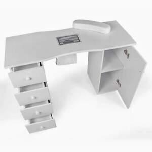 Table pour manucure et reconstruction des ongles avec aspirateur et bloc-tiroir