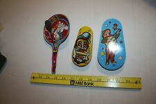 Three Vintage Noise Makers New Year's Eve Tin Toys Two Ratchet spin One Pan Styl