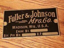 Fuller Johnson Brass Engine Tag