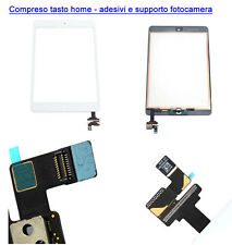 TOUCH SCREEN VETRO IPAD MINI 2 A1489 A1490 A1491 TASTO HOME IC ADESIVI BIANCO