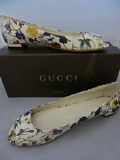 Gucci Floral Leather PEEP Toe Flat Size EU 41 Uk8 Shoes Open Toe REDUCED