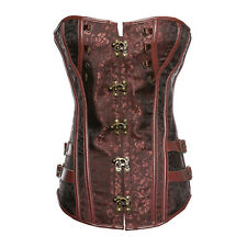 Steampunk Gothic Corset Black Jacquard Lace Up Boned Overbust Bustier Clubwear
