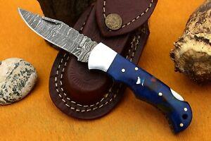 MH KNIVES RARE CUSTOM DAMASCUS STEEL FOLDING/POCKET BACK LINER LOCK MH-25