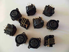 10 x XLR NEUTRIK Panel Socket (Female) NC3FAHR1-0 PCB Gold 10pcs NEW