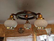 1930s Ships Wheel 3 Light Ceiling Fixture