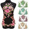 1 Set 3D Flower Embroidery Lace Applique Patches Cord Scrapbooking Motif Dress