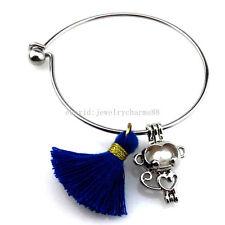 KB70 Cute Heart Monkey Pearl Akoya Oyster Cage Tassel Stainless Steel Bracelet