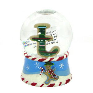 """St. Nicholas Square HOLIDAY SWEETS 3.5"""" Mini Snowglobe Letter 'T' Frosted Cookie"""
