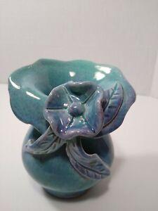 """Cute small blue glaze pottery vase floral motif 4"""" succulent"""