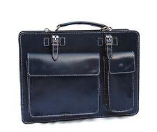Italienische Leder Aktentasche Aktenkoffer PC Tasche BLAU Ranzen Uni
