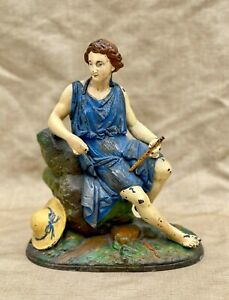 Antique Alloy Metal Victorian Clock Topper Hand-Painted Classical Figure