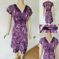 GEORGE Women Purple Dress Size 14 Floral Cap Sleeve Silk Feel Tie Back Fit Flare