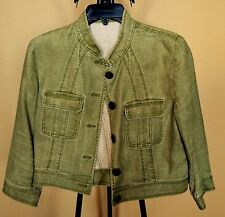 ABS by Allen Schwartz Rare Varsity Green Linen Jean Short Jacket 3/4 Sleeves 8