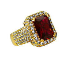 Mens Iced CZ Red Ruby Rich Homie Quan Rick Ross Birdman Ring  One Size Fits Most