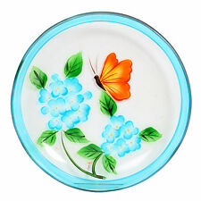 Village Candle 12cm blue Floral Hand Painted Candle Plate