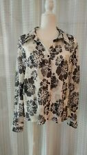 Orvis womens shirt top sz 16 black and white floral long sleeves