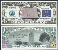 North Dakota State Million Dollar w Map, Seal, Flag, Capitol - Lot of 2 Bills