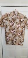 Royal Pacific Mens Hawaiian Shirt large Linen Medium tan floral