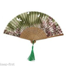 New Chinese Bamboo Folding Silk Flower Pattern Hand Fan Wedding Party Gift