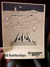 "FT4 Vintage RARE Crosman Air guns target Coleman co. BB Battleships  8.5"" x 11"""
