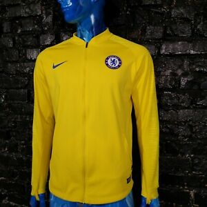 Chelsea Pre Match Jacket With Zipped Nike AA3330 Yellow Polyester Mens Size L