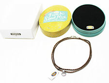 "NEW GIFT-BOX FOSSIL JEWELRY LEATHER-CORD CHAIN & PENDANT NECKLACE 30"" BRONZE"